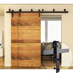 4ft 16ft Sliding Barn Door Hardware Kit Closet Rail Roller Set Bypass Two  Doors