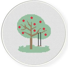 Charts Club Members Only: Tree with Fruits Cross Stitch Pattern