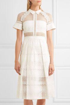 Self-Portrait - Broderie Anglaise Cotton Midi Dress - White - UK10