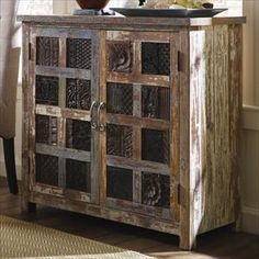 Picture of Reclaimed Wood Print Block Accent Chest