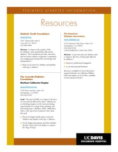Pediatric Diabetes resources