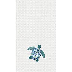 Blue Meridian Sea Turtle Waffle Weave Kitchen Hand Towel 18 x 27 - Material: Cotton; Dimensions: 18 x 27 from C&F Enterprises. Beach Theme Kitchen, Kitchen Themes, Kitchen Hand Towels, Kitchen Linens, Cute Watermelon, Beach House Kitchens, Color Plan, Beach Cottages, Beach House Decor