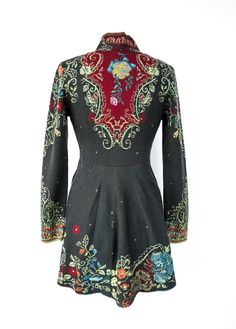 Ivko Style #62502 Charcoal Flecked with small stars, and embellished with flowers and ivy, this is the Jacket for Ivko lovers. It has all the details right. They added side-seam pockets and the jacket