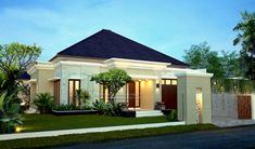 Modern house front elevation with modern house front pictures Small Bungalow, Bungalow House Design, House Front Design, Small House Design, Modern House Design, Front House Landscaping, Traditional Front Doors, Bali House, House Design Pictures