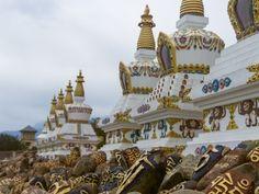 Mani stones and Stupas, McLeod Ganj, Dharamsala, India #india #himachal #prayer #buddhism #tibet #culture #Kamalan #travel