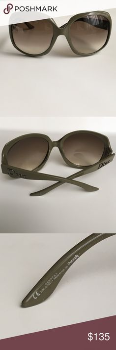 """DIOR Glossy 1 Sunglasses - like new PERFECT CONDITION - worn maybe once?! Beige resin Christian Dior Glossy 1 oversize sunglasses with gradient lenses and logo at temples. Includes case but the case has deteriorated over time. Bought them in France before the celebrities heheheh - price reflects the condition of the case and conditions of hard-to-find style on PM + other sites - I DO INCLUDE FRESH HIGH-QUALITY LENS CLOTHS WITH ALL EYEWEAR  Frame Width: 6"""" Frame Height: 2.75"""" Christian Dior…"""