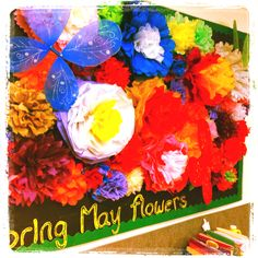 43 best tissue paper bulletin boards images on pinterest classroom bring may flowers april bulletin board made with tissue paper flowers mightylinksfo