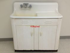 VINTAGE KITCHEN SINK WITH CABINET WHITE PORCELAIN CAST IRON AND STEEL | eBay