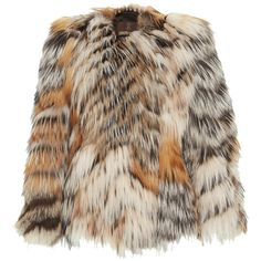 Roberto Cavalli     Long Sleeve Short Fur Coat ($7,775) ❤ liked on Polyvore featuring outerwear, coats, jackets, multi, oversized coat, short coat, oversized fur coat, roberto cavalli and brown coat