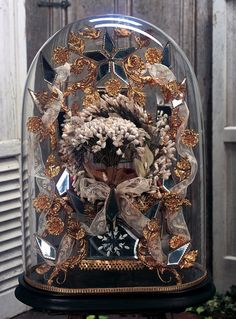 """View Catalog Item - Theriault's Antique Doll AucSuperb French """"Globe de Mariee"""" with Richly Gilded Ormolu Symbols and Mirrorstions - circa 1885 Bell Jars, The Bell Jar, Spiritus, Bird Theme, Ceramic Birds, French Wedding, Bridal Crown, Headpiece Wedding, Glass Domes"""