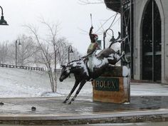 """violet-brocade: Statue of Bruce Davidson at the Kentucky Horse Park on 3.25.13- one month before Rolex! The horse is supposed to be bay- the """"paint"""" look is from the surprise snow Kentucky got last night! PHOTO COURTESY OF THE ROLEX KY FACEBOOK PAGE"""