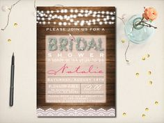 Rustic Bridal Shower Invitation Lace Floral by VintageBellsAndCo