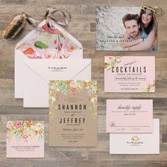Watercolor Flower Wedding Invitation Samples - Wedding Invitation Samples - Invitation, Response Card, Reception Card - Sample Set -