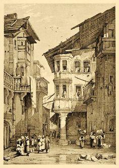 1915 Print Samuel Prout Art Sion Switzerland Streetscape Cultural XDA6 - Period Paper