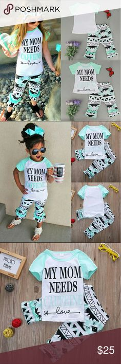 ?NEW! Kids Need Coffee Pants and Top Set 4 to 5 years.  Brand new. Adorable top and pants set.  111257 Matching Sets