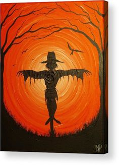 halloween art Scarecrow Acrylic Print by Michael Prosper. All acrylic prints are professionally printed, packaged, and shipped within 3 - 4 business days and delivered ready-to-hang on your wall. Choose from multiple sizes and mounting options. Halloween Canvas Paintings, Scarecrow Painting, Fall Canvas Painting, Halloween Painting, Autumn Painting, Autumn Art, Canvas Art, Fall Paintings, Scarecrow Drawing