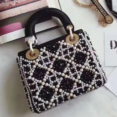 b004a16f8eae Dior Lady Dior Mini Bag In Calfskin Embroidered With Pearls 2017     Real  Purse