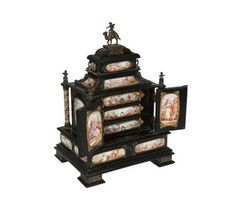 A Renaissance Revival ebonised and enamel mounted table cabinet, probably Vienna, c. 1880-90. Lot number 256, Thomas Watson Fine Sale, 24.02.2015. Estimate: £1500-£2500. Bid online at http://www.the-saleroom.com/en-gb/auction-catalogues/thomas-watson.