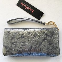 """HP X2 Imoshion metallic silver wristlet Super cute """"oxidized"""" silver and black wristlet. Embossed croc texture. Unzips to reveal multiple pockets and compartments. Gold hardware (looks very cool with the silver). Removable wrist strap. NWT; never worn. [I also have this listed in gold.] Imoshion Bags Clutches & Wristlets"""