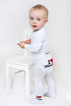 Bavlněné punčocháčky New Baby bílé I Love Mum and Dad New Baby Products, Onesies, Dads, My Love, Clothes, Outfits, Clothing, Kleding, Babies Clothes