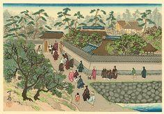 "Life of Holy Priest Nichiren - 14. ""Preaching at Wakamiya"" by Tenrei Horiuchi (1903-1982). From ""Nichiren Seijin Goichidai Ki Gafu"" (Picture Album of the Life of Holy Priest Nichiren).  Nichiren's patron, Toki Tanetsugu, heard of Nichiren's problem, he invited the priest to his residence at Wakamiya in Shimousa province (Chiba prefecture). There, Nichiren continued his preaching."