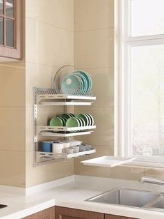 Dish drainer rack material: 304 stainless steel material, no rusting, long-lasting durability Size: x x inch Package Includes: 1 x Dish Rack + 1 x Plate Rack + 1 x Fruit & Vegetable Basket + 1 x Chopsticks Cage + 1 x Knife Holder + 3 x[. Kitchen Room Design, Home Decor Kitchen, Kitchen Furniture, Kitchen Interior, Diy Home Decor, Kitchen Ideas, Small Apartment Kitchen, Small Space Kitchen, Small Kitchens