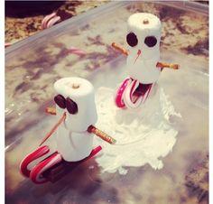 Kids Christmas craft  cute idea to start from  marshmello candycane chocolate chip pretzel hershy kiss