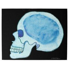 Blue Skull Jigsaw Puzzle Ipressionist from Orginal Pen and Watercolor Painting Gothic Horror Goth Steampunk by MBrothertonArt on Etsy