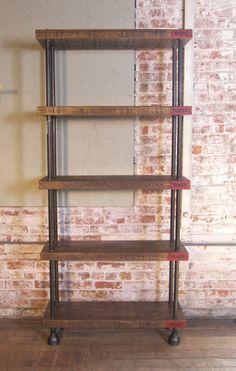 industrial wood metal shelving | Industrial Wood, Steel (Pipe) Cast Iron Shelving / Storage Unit image ...