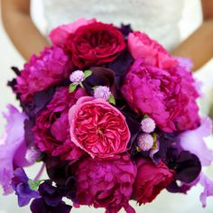 Hot pink and deep purple peonies. Pop of Color!