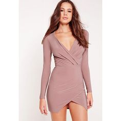 Missguided Slinky Wrap Plunge Bodycon Dress Mauve ($43) ❤ liked on Polyvore featuring dresses, purple, cocktail party dress, red cocktail dress, purple wrap dress, plunge-neck dresses and purple party dresses