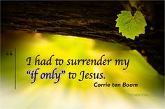 "When speaking about her life experiences, specifically about never marrying, she shared . ""I had to surrender my 'if only' to Jesus. Corrie Ten Boom, Bible Verses Quotes, Faith Quotes, Pastor Quotes, Gratitude Quotes, Wisdom Quotes, Scriptures, Great Quotes, Inspirational Quotes"