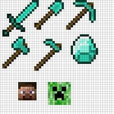 Minecraft Tool Set Diamond Perler Beads By Swimmingangel