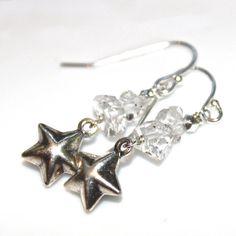 Herkimer Diamond Quartz Earrings Silver Star Earrings by FizzCandy
