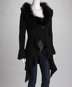 Take a look at this Miss Finch Black Fur-Trim Cardigan by Nico LA & Miss Finch on #zulily today!