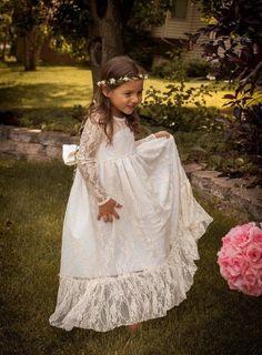 Best Seller Soft Off White Long Flower Girl Dress Rustic Country Forest Weddings Large Bow Girls Dresses Kids Clothing
