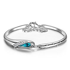 96ba099d1 QIANSE Mothers Day Gifts Idea for Mom Gifts for Women Bangle Bracelets for  Women Blue Swarovski Crystal Bracelet for Teen Girls Jewelry for Women  Birthday ...