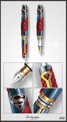 Superman Pens: Quand DC Comics et Montegrappa se rencontrent. Dc Comics, Superman Love, Graf Von Faber Castell, Luxury Pens, Best Pens, Writing Pens, Pen Nib, Fountain Pen Ink, Man Of Steel