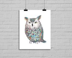 Spooky Owl Watercolor Painting 5x7 Art Print Wall Art Watercolor Painting Print Watercolour Wall Art Watercolor