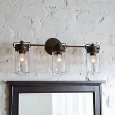 Diy farmhouse bathroom vanity light fixture vanity light fixtures allen roth 3 light vallymede aged bronze bathroom vanity light includes eclectic jar style aloadofball Gallery