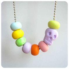 Pastel Skull Necklace - Shara Lambeth Designs - Handmade - Jewellery