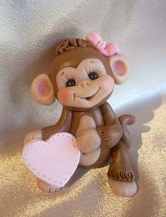 polymer clay personalized monkey Christmas ornament by clayqts