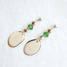Brazilian Acai Seeds, Thin Tagua Slices and Green Czech Crystals Eco Friendly Earrings via LauraBijoux. Click on the image to see more!