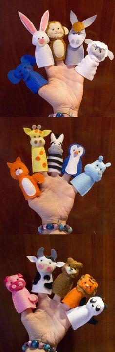 Dedoches de feltro animais                                                                                                                                                     Mais #Fingerpuppets
