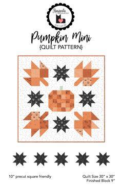Pumpkin Mini quilt pattern using Scaredy Cat Fabric by Riley Blake Designs. Halloween Quilt Patterns, Cat Quilt Patterns, Halloween Quilts, Halloween Crafts, Pumpkin Quilt Pattern, Ty Dye, Nautical Quilt, Paper Quilt, Pinwheel Quilt