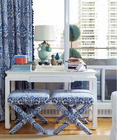 x stools, ikat fabric, white desk, chinoserie lamp, navy & white