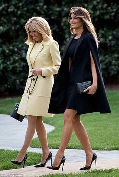 First Lady Melania Trump & Brigitte Macron of France Fashion Mode, Look Fashion, High Fashion, Womens Fashion, Milania Trump Style, Mode Outfits, Fashion Outfits, Frauen In High Heels, First Lady Melania Trump