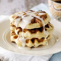 Cinnamon Roll Waffles Printable Recipe.   I let my son and husband work on these for a Sunday breakfast.  They used our Belgian Waffle maker.  Yum!