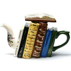 For the Bookworm in me. (full sized novelty teapot depicts a stack of leather bound poetry books, by classic British and European poets such as Rosetti, Keats, Byron and others) Teapots Unique, Cuppa Tea, Teapots And Cups, My Cup Of Tea, Chocolate Pots, Tea Time, Tea Party, Tea Cups, Poetry Books