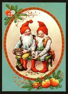 Lars Carlssön 🐐 Vintage Greeting Cards, Vintage Christmas Cards, Christmas Pictures, Vintage Postcards, Swedish Christmas, Christmas Gnome, Scandinavian Christmas, Gnome Images, Baumgarten